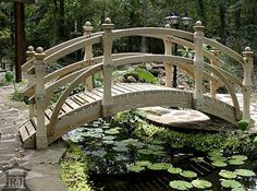 Our ornamental landscape bridges are perfect for spanning a water garden, koi pond, stream, dry bed or your imagination. Uniquely carved posts topped with layered finials add a decorative touch to our spectacular garden bridges Pond Landscaping, Ponds Backyard, Backyard Stream, Pond Bridge, Garden Bridge, Garden Pond, Water Garden, Landscape Design, Garden Design
