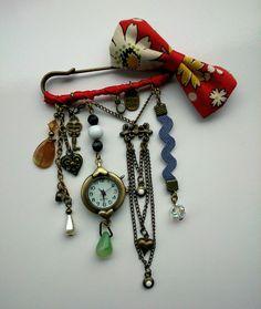 kilt pin watch brooch I made as a birthday present