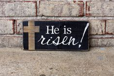 He is Risen! Sign - Easter Decor | Signs by Andrea