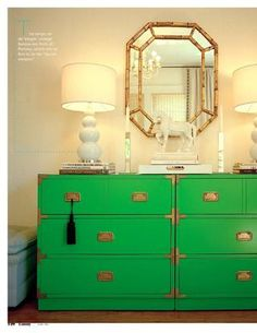 This green campaign dresser (I think that's what it's called) has caught my attention every time I've seen it posted. I also love the mirror, the horse, and the lamps.