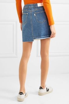 SJYP | Distressed patchwork denim mini skirt | NET-A-PORTER.COM