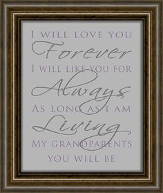 PRINTABLE Gift for Grandparents - Instant Download - Grandparents Day Gift - I Will Love You Forever Print on Etsy, $10.00