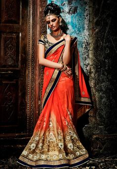 Shaded Orange and Beige Net and Faux Georgette Saree with Blouse