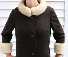 Vintage 1950s Shift Wiggle Dress w Fur Trim Coat S 6 8 by Flashbax, $99.00