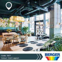 Instead of opting for the traditional white ceiling, try something new! Cool Lagoon is a unique shade that creates a memorable effect, makes the perfect contrasts for any decor and a luxury feel to your space.  #BergerCaribbean #BergerPaintsCaribbean #BergerPaints #ResturantInspiration #CoolLagoon #UniqueShade #PaintColour