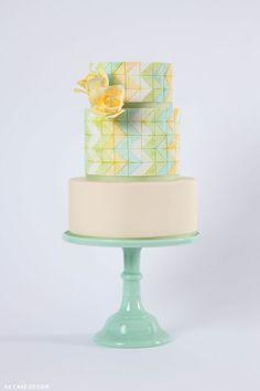 Zig Zag Patterned Pastel Toned Cake