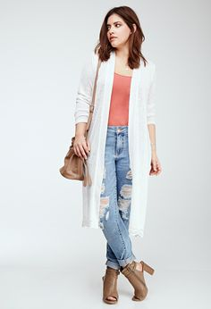 Embroidered Lace-Paneled Longline Cardigan | FOREVER21 PLUS - 2000097184