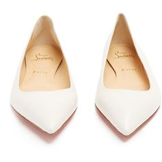 Christian Louboutin Ballalla point-toe leather flats ($575) ❤ liked on Polyvore featuring shoes, flats, ballet flats, white flat shoes, flat shoes, white pointed toe flats and white ballet shoes