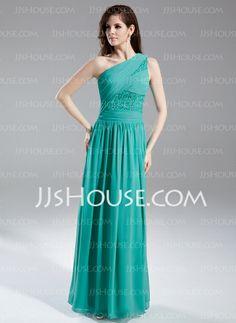 Evening Dresses - $146.69 - A-Line/Princess One-Shoulder Floor-Length Chiffon Evening Dress With Ruffle Beading Sequins (020015857) http://jjshouse.com/A-Line-Princess-One-Shoulder-Floor-Length-Chiffon-Evening-Dress-With-Ruffle-Beading-Sequins-020015857-g15857