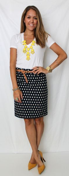 not crazy about the skirt, but I like the general idea of a casual top with a structured pencil skirt