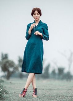 Hand Painted Women's Dress Long Sleeve Maxi Dress V by MissLinen