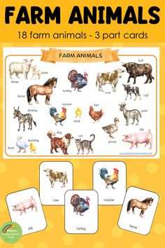 Montessori inspired Farm Animals 3 part cards Montessori Jobs, Montessori Toddler, Montessori Materials, Animal Activities For Kids, Toddler Learning Activities, Fun Crafts For Kids, Preschool Crafts, Preschool Curriculum, Homeschooling
