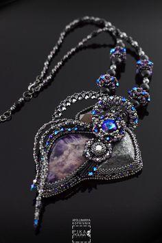 """Купить Кулон """"Solid"""" - тёмно-фиолетовый, аметист, кулон с камнями, фиолетовый кулон"""