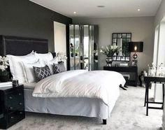 gray Bedroom Dark Grey And Silver Master Bedroom Ideas Tips On Purchasing A Commercial Dark Master Bedroom, Relaxing Master Bedroom, Master Bedroom Makeover, Master Bedroom Design, Home Decor Bedroom, Modern Bedroom, Bedroom Ideas, Contemporary Bedroom, Master Bedroom Furniture Ideas
