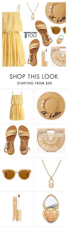 """""""Under $100: Summer Dresses"""" by dressedbyrose ❤ liked on Polyvore featuring Chicwish, Kate Spade, Billabong, Cult Gaia, Draper James, Kevyn Aucoin, Too Faced Cosmetics, dress, under100 and polyvoreeditorial"""