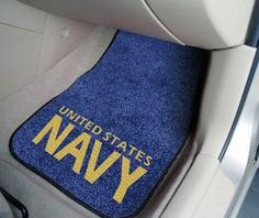 795b385a60 Show your pride with a Military US Navy 2 piece car mat by Fan Mats. The  perfect solution to protecting your vehicle surfaces.
