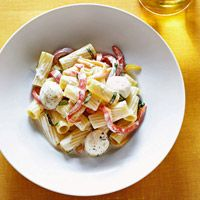 Rigatoni with Creamy Pepper Sauce made with sweet red, yellow and green bell peppers.  Also bocconcini (small mozzarella balls)