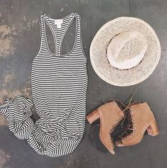 stripe maxi + lace-up booties #amusesociety