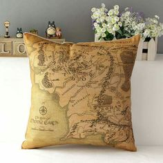 Middle Earth CUSHION COVER , FREE SHIPPING Only Available for Short Period Buy  Here > https://www.teewarden.com/products/18-square-lord-of-the-ring-cotton-linen-cushion-cover-sofa-decorative-s