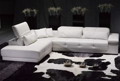 Furniture L Shape White Leather Sofa With Plant Accessories Determining the Stunning Sofa for Sale With the Original Leather Material