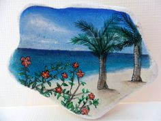Just finished this tiny painting today :-)Flowers on the beach  Miniature art on by Alienstoatdesigns, £25.00
