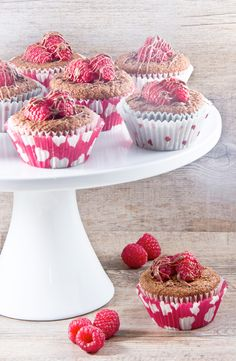 Chocolate-covered Raspberry Stuffed Cupcakes #cupcake #recipe