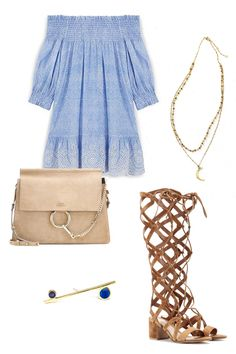 Tory Burch Smocked Dress, $295; toryburch.com Urban Outfitters Half Moon Rosary Necklace, $24; urbanoutfitters.com Sehti Na Bar Earrings with Lapis and Iolite, $370; sehtina.com Gianvito Rossi Suede Gladiator Sandals, $1,750; mytheresa.com Chloé Faye Shoulder Bag, $1,890; mytheresa.com   - ELLE.com