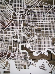 Hand cut paper figure ground of Baltimore –beautiful !