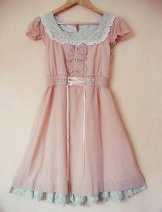 dress lace kawaii pink pastel