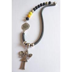 Asymmetrische Halskette aus Polaris und Segelseil, Engel