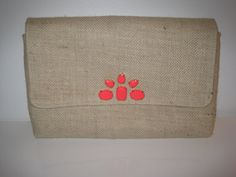 Natural Burlap Handmade Clutch with Neon Coral Gem by JetSetCoco, $75.00