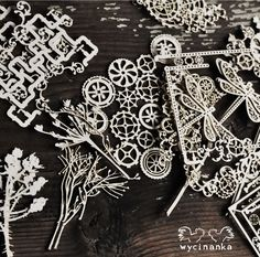 steampunk lasercut chipboards from Wycinanka Alexander Mcqueen Scarf, Steampunk, Scrapbooking, Cards, Products, Maps, Scrapbooks, Playing Cards, Memory Books