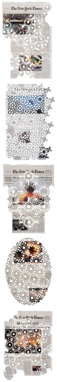"DONNA RUFF, CUT NEWSPAPERS: ""she finds beauty and inspiration in sacred texts such as the torah and the qur'an, but also in the new york times and the manhattan phone book; in cathedrals, mosques and synagogues, but also in the warehouses   of chicago and brooklyn."" <3"