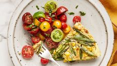 Glorious late-summer vegetables give fresh meaning to mealtime: sauteed green beans and corn take center stage in this seasonal frittata. Juicy cherry tomatoes dressed in olive oil, red-wine vinegar, and chopped parsley make the ideal colorful companions. Vegetarian Recipes Dinner, Brunch Recipes, Dinner Recipes, Breakfast Recipes, Yummy Recipes, Healthy Recipes, Quiche, Sauteed Green Beans, Martha Stewart Recipes
