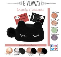 Mattify Cosmetics #Makeup + Sephora Gift Card #GIVEAWAY $100 value. RePin or follow to enter! More easy ways to win @ http://www.mattifycosmetics.com/      #sephora #contest #freemakeup