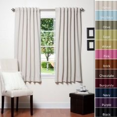 """Amazon.com: Solid Thermal Insulated Back Tap Blackout Curtain 63""""L- 1 Set-BEIGE - $49.99 + Prime!"""