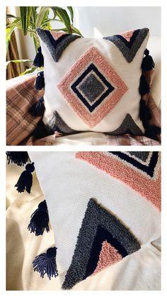 Cute Cushions, Boho Cushions, Diy Pillows, Throw Pillows, Hand Embroidery Projects, Hand Embroidery Patterns, Diy Embroidery, Cushion Embroidery, Diy Pillow Covers