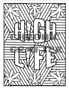 items similar to high life coloring page from color me cannabis by chronic crafter on etsy - Cannabis Coloring Book