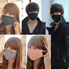 Black Unisex Mouth Face Mask Respirator Health Anti-Dust Cotton Cycling Sports