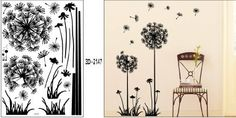 "Tree Wall Decals: Black Dandelion Flower Plant Tree Large Removable Wall Decor Decal Sticker 57"" X 29"" from Modern House. ............ Get Wall Decals at Amazon from Wall Decals Quotes Store"