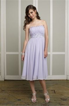 Chiffon A-line Strapless Tea-length Purples #Bridesmaid #Dresses Style Code: 06413 $109