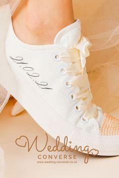 Personalised Bridal White Platform Converse (Scripted