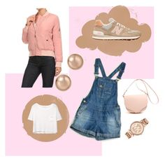 """""""SPRING """" by alwaysyourself ❤ liked on Polyvore featuring MANGO, New Balance, Michael Kors, Bloomingdale's, Pink, michaelkors, brown, bomberjacket and Wintertospring"""