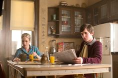"Ep. 3 - Whats Wrong with Norman (Bates Motel) Pic 2/14 - Norma and Norman are having a quiet breakfast before Dylan enters and tells ""Mr. and Mrs. Bates"" that he won't be able to help around the house today as he has togo to work. The two are stunned. AETV.com"