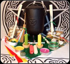 Beltane Litha Midsummer Altar Set in Cauldron Handblended Herbs Incense Anointing Oil Candles Holders Ritual Kits Pagan Ritual Witch Wiccan - New Moon Enterprise - 1 Pagan Altar, Wiccan, Pagan Festivals, Oil Candles, Beltane, Cauldron, New Moon, Incense, Celtic