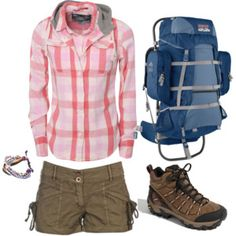 If the shorts were just a bit longer I would totally wear this outfit out hiking. Well, if I actually went hiking instead of always wishing I could go hiking. Cute Hiking Outfit, Summer Hiking Outfit, Summer Outfits, Cute Outfits, Trekking Outfit, Camping Outfits, Hiking Outfits, Boot Outfits, Workout Gear