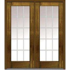 64 in.  x 80 in. Grilles Between Glass Left-Hand Full Lite Classic Stained Fiberglass Mahogany Prehung Front Door