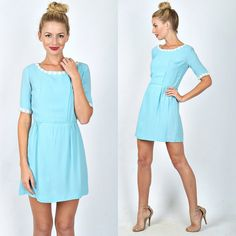 Vintage 60s 70s Blue Mod Dress Mini Boho Floral by thekissingtree
