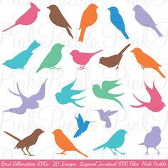 Oiseau Silhouettes SVG oiseaux coupe modèles usage par PinkPueblo