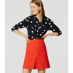 LOFT Petite Polka Dot Utility Blouse ($60) ❤ liked on Polyvore featuring tops, blouses, forever navy, navy blouse, ruched blouse, long sleeve blouse, navy blue polka dot blouse and navy dot blouse